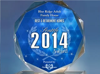 Blue Ridge Adult Family Home 2014 award emblem statue made of crystal.