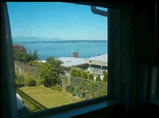Bedroom view of Puget Sound water.